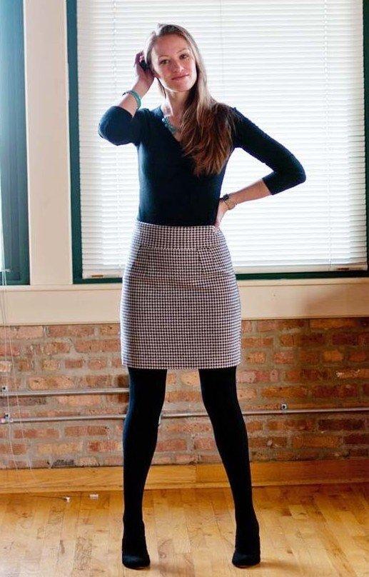 women wear a pencil skirt & pantyhose, best 1 skills 2
