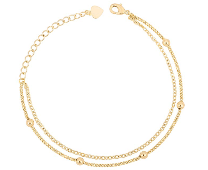 Double Layering Beach Anklet 18K Gold Plated