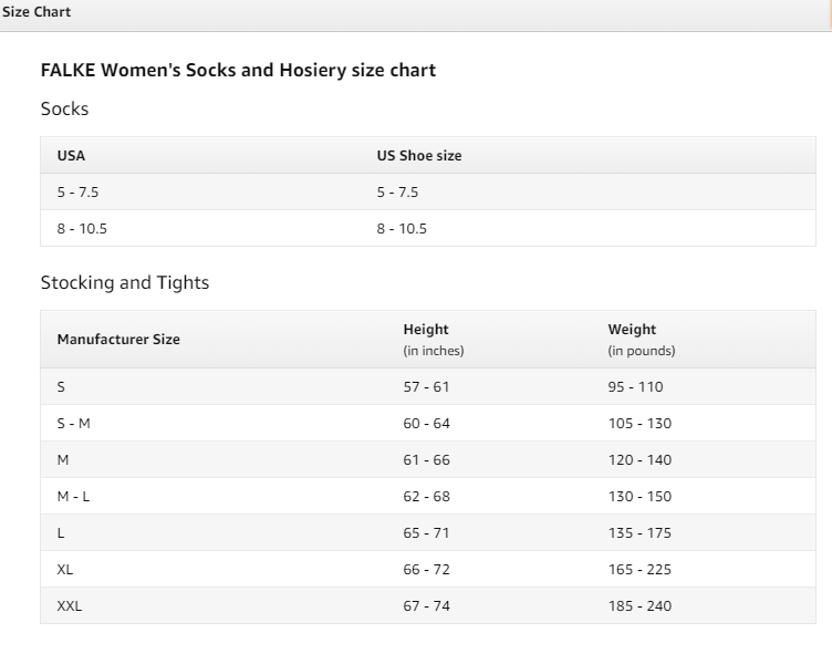 Socks and Hosiery size chart